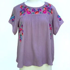 See and Be Seen floral embroidered peasant Top
